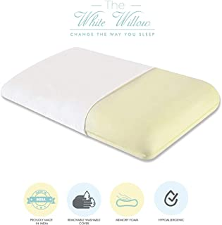 """The White Willow Orthopedic Memory Foam Standard Size Neck & Back Support Sleeping Bed Pillow- (22"""" L x 16"""" W x 5"""" H)"""