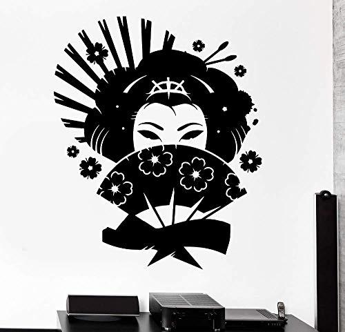 Japanische Wandaufkleber, Blumen, Ostfrau, Mädchen, Ventilator, Wohnzimmer, Innenkunst, Wandbild 42X51Cm