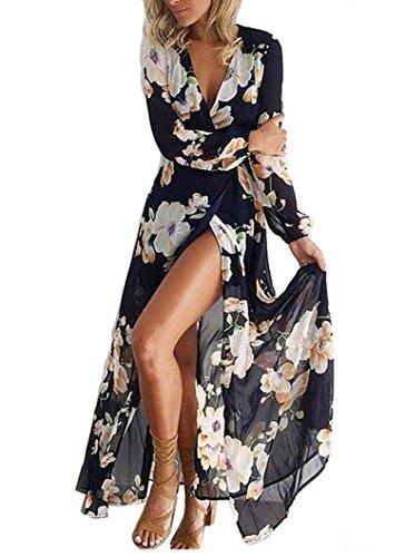 Femmes Bohème Longue Maxi Robe de Plage Robes Bustier été Floral Imprimé 3/4 Manche Robe Col Badeau Taille Grande (Bleu, M)