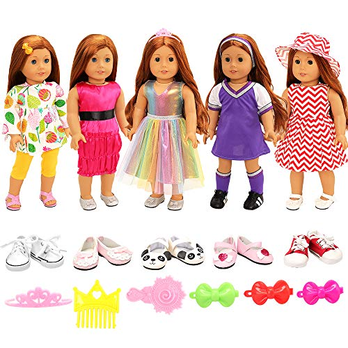 Barwa Lot 7 Items = 5 Sets Clothes Dress Outfits with Accessories and 2 Pairs Shoes for 18 Inch Girl Doll Xmas Gift