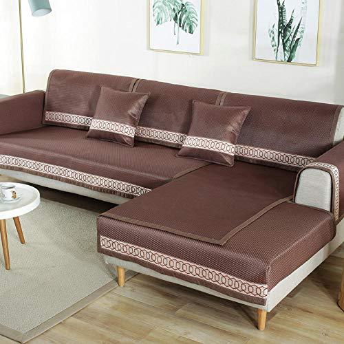 YUTJK Pad de enfriamiento de sofá de Verano Lavable,Fundas de Almohada cuadradas Funda de sofá,Suaves para el sofá,el Dormitorio y el Coche,Chocolate_90×240cm