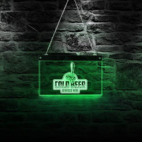 Fertigen Sie kaltes Bier besonders an, das hier instand gehalten wird Acryl führte Rand beleuchtetes Logo-Kneipen-Bar-Mann-Höhlen-Zeichen-Sudhaus-Wand-Zeichen für kühle Nachtlicht-Lampe