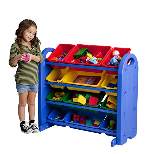 ECR4Kids 4-Tier Toy Storage Organizer for Kids, Blue with 12 Assorted Color Bins