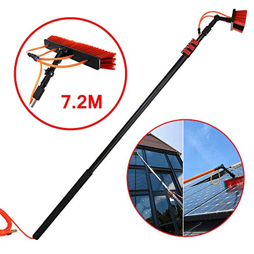 Teleskop Fensterreiniger,Solar und Photovoltaik-Reinigung,für LKW-Fenster, Fensterglaswand Photovoltaik-Panel Reinigung,7.2M