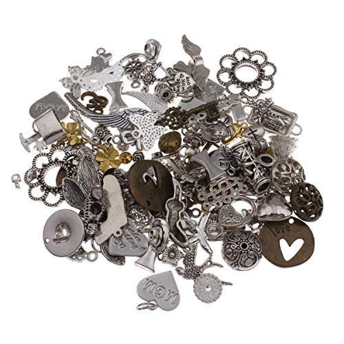 Metall Anhänger Mix 200g Verbinder Zwischenteile Metallperlen für Halskette Charm Mischung Mix Bunt Silber Gold von Vintageparts, DIY-Schmuck Fassung Medaillons Anhänger Ketten M66x2