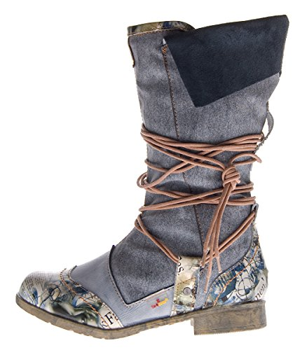 Damen Leder Winter Stiefel Comfort Boots TMA 5561 Schuhe Schwarz Stiefeletten gefüttert Gr. 39