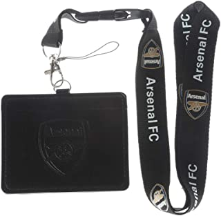 Arsenal FC Black Faux Leather Business ID Badge Card Holder with Keychain Lanyard