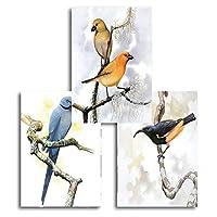 壁アート北欧ミニマリスト鳥ポスターと版画動物オウム壁アートキャンバス絵画リビングルームの壁の写真家の装飾50x70cmx3フレームなし