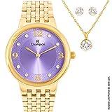 Relógio Feminino Champion CN28133L Kit Colar e Par de Brincos