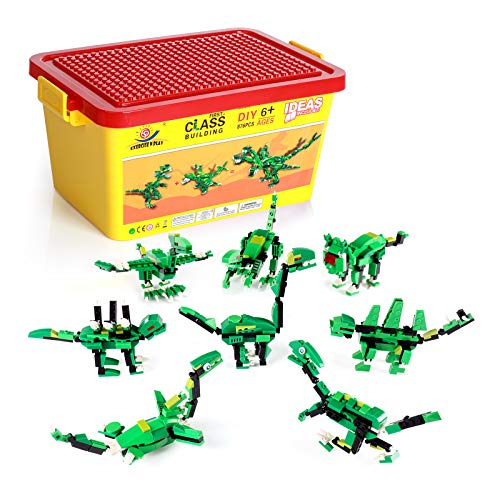 Dinosaurs Building Blocks, 876 Pcs 8 in 1, Exercise N Play Toddlers STEM Creative DIY Construction Toy for Boys Girls with Storage Bucket