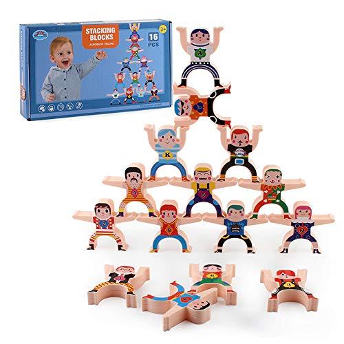 Juego apilamiento 16 piezas del juego equilibrio Hércules, varios métodos expresión roles, adecuados para la interacción entre padres e hijos, juguetes educativos educación temprana.