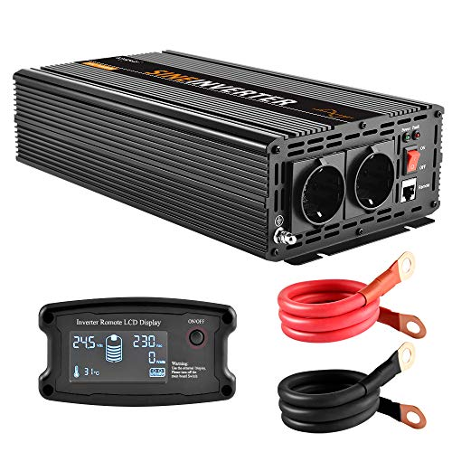 EnRise 1500W Spitzenwert 3000W Reiner Sinus Spannungswandler Wechselrichter DC 24V auf AC 230V Mit LCD-Fernbedienung