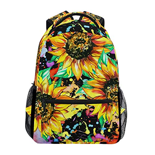 ALAZA Watercolor Sunflower Painting Art Floral Colorful Stylish Large Backpack Personalized Laptop iPad Tablet Travel School Bag with Multiple Pockets for Men Women College
