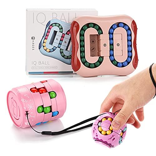 FORMIZON 3pcs Magic Bean Rotating Cube, Frijoles Mágicos de Juguete, Juguetes Educativos Magic Cube, Juguete de descompresión para Niños/Adultos (Rosa.Violeta)