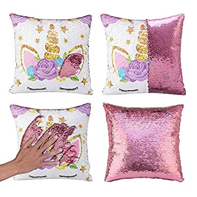 Unicorn Gifts Mermaid Throw Pillow Cover Magic Reversible Sequin Cushion Cover Decorative Pillowcase Unicorn Room Decor for Girls(Unicorn G -Light Pink Sequin)