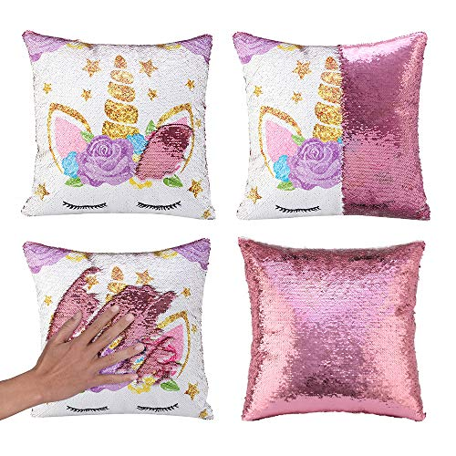 Unicorn Gifts Mermaid Throw Pillow Cover Magic Reversible Sequin Cushion Cover Decorative Pillowcase Unicorn Room Decor for Girls, Only Pillow Cover, 1 Pack(Unicorn G -Light Pink Sequin)