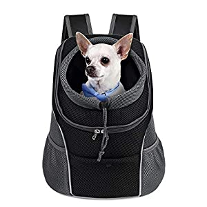 WOYYHO Pet Dog Carrier Backpack Puppy Dog Travel Carrier Front Pack Breathable Head-Out Backpack Carrier for Small Dogs Cats Rabbits(M(up to 10 lbs), Black)