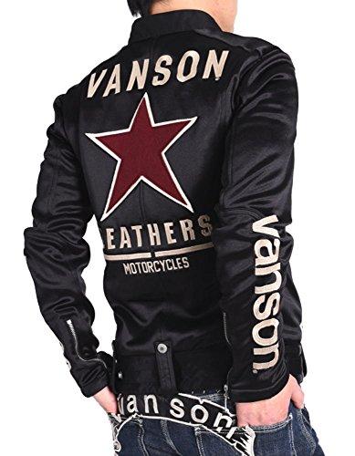 【当店別注】(バンソン) VANSON ライダース ワンスター 刺繍&ワッペン ボンディング ライダース ジャケット JFV-801-BLACK (M, ブラック)
