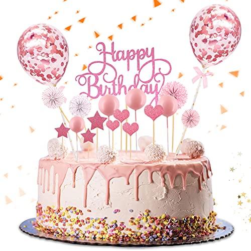 Huahuanghui Tortendeko Rosa,Kuchen Topper,Kuchendekoration,Geburtstag Torte Topper,Cake Topper,Happy Birthday Kuchendeko,Kuchen Deko für Geburtstag mit Sternen,Konfetti Ballon,Liebe und Papierfächer