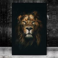 ウォールアート50x70cmアフリカンワイルドライオンヘッドアートポスターとプリント動物アートキャンバス絵画写真家の壁の装飾