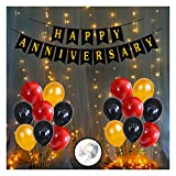 Party Propz Anniversary Decorations for Home With Happy Anniversary Banner Kit, Metallic Balloons 1set LED Lights Combo 54Pcs for 25th 50th 1st Wedding Party Decoration,Mom DAD