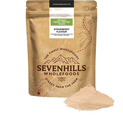 Sevenhills Wholefoods Organic Vegan Protein Powder Shake, Strawberry 500g