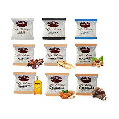 Caffè Vulcanus - Kit assaggio 150 cialde compostabili ESE44 con caffè aromatizzati - Degustazione caffè miscela Napoli, Ischia, Capri e caffè aromatizzati