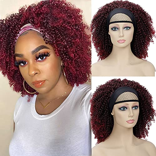 Short Curly Headband Wigs For Black Women Natural Afro Curly Hair Wig, Machine Made African American Kinky Curly None Lace Front Wigs (12inch, #1B/Burgundy)