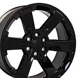 OE Wheels LLC 22 Inch Fits Chevy Silverado Tahoe GMC Sierra Yukon Cadillac Escalade Silverado Rally Edition Flow Formed CV41 22x9 Rim CK162 Gloss Black Hollander 5662