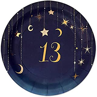 Starry Night 13th Dessert Plates - 24 count - Celestial, Star, Moon Paper Party Plates for Teen, Girls Birthday