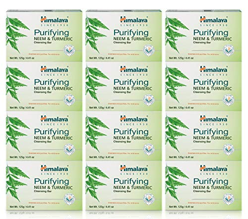Himalaya Purifying Neem & Turmeric Cleansing Bar, Face and Body Soap for Soft, Clear & Acne Free Skin, 4.41 oz, 12 Pack