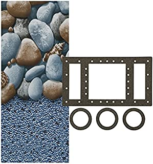 Smartline Rock Island 15-Foot-by-30-Foot Oval Overlap Liner | 48-to-52-Inch Wall Height | 25 Gauge Virgin Vinyl | Designed for Steel Sided Above-Ground Swimming Pools | Universal Gasket Kit Included
