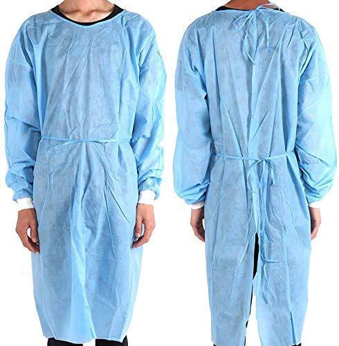 Yurgrt Medische wegwerpuniformen, waterdicht, roestvrij, groene blouse, lange mouwen, elastische manchetten, van vlies, 20 stuks