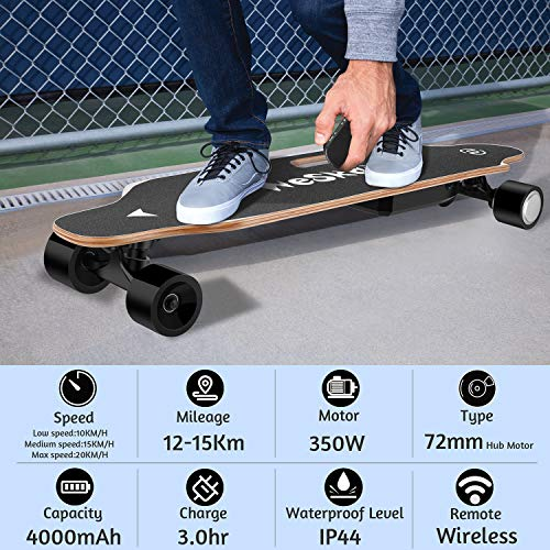 "WeSkate 35"" Electric Skateboard Longboard with Remote Controller, 3 Speed Adjustment, 12 MPH Top Speed, 350W Single Motor, 10 Miles Range, Load up to 220Lbs, 8 Layers Maple"