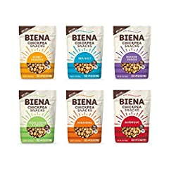 Contains 6 x 5oz bags of Biena Chickpea Snacks; 1 of each flavor: Sea Salt, Rockin' Ranch, Honey Roasted, Barbeque, Habanero, Sour Cream & Onion (packaging may vary) Light, crispy roasted chickpeas in all the best flavors. Ideal healthy snacks for ki...