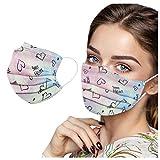 YINGXIONG 50 Stück Schwarz/Rosa/Lila Einmal-Mundschutz Mundbedeckung Erwachsene 3-lagig Atmungsaktiv Mund und Nasenschutz Einweg Baumwolle Bandana Bedeckung Halstuch (B02, 50pc)