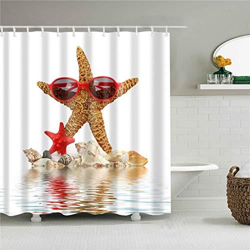 XCBN Seaside Shell Tiere Dinosaurier Weltkarte Flagge Duschvorhänge Bad Vorhang Stoff wasserdicht mit Haken A5 180x180cm