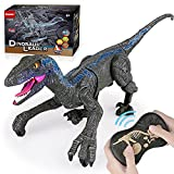 Smmoma 6 Channels 2.4G Remote Control Dinosaur for Kids Boys Girls, Electronic RC Toys Educational Walking velociraptor with Lights and Sounds Powered by Rechargeable Battery, 360° Rotation Stunt(Ash)