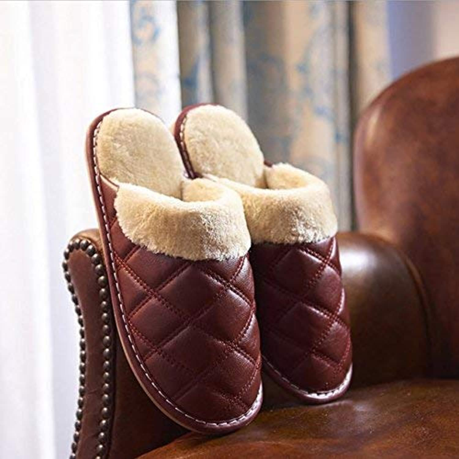 JaHGDU Men Home Cotton Slippers Indoor Keep Warm Casual Slippers Brown Soild color Personality Quality for Men