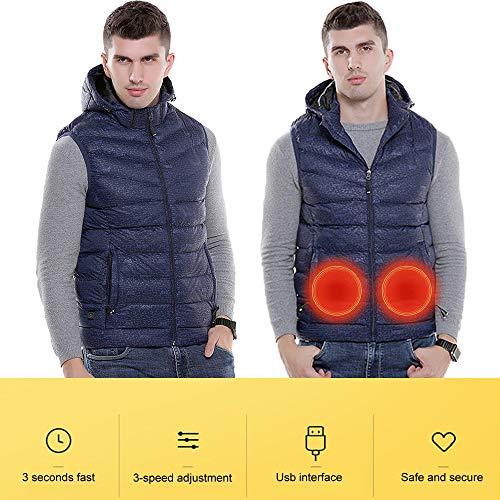 Roboraty heren wintervest USB opladen, elektrisch verwarmd vest winter warme jas, wasbaar, intelligente verwarming voor outdoor-activiteiten bij koud weer 4XL blauw