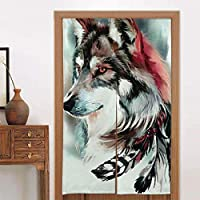 JOCAR 部族のオオカミの芸術のれん おしゃれ 目隠し ング 遮光 のれん 玄関 キッチン リビング 飲食店 出入り口 幅85cm×丈200cm