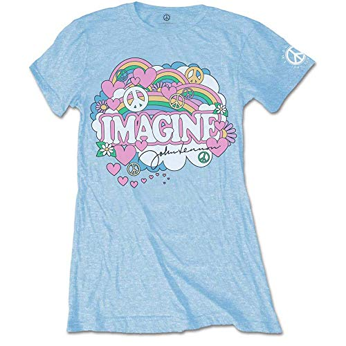 John Lennon Rainbows, Love & Peace Camiseta, Azul (Blue Blue), 38 (Talla del Fabricante: Medium) para Mujer