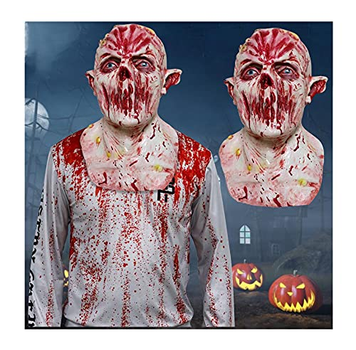 FGDH Zombie Clown Mask Realistic Halloween Mask Halloween Decorations Costumes Scary Head Mask Face for Adult Human Wrinkle Face Mask Novelty Cosplay Props for Halloween Party