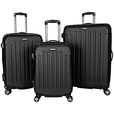 """Kenneth Cole Reaction Renegade 3-Piece Lightweight Hardside Expandable 8-Wheel Spinner Travel Luggage Set: 20"""" Carry-on, 24"""", 28"""" Suitcases, Black"""