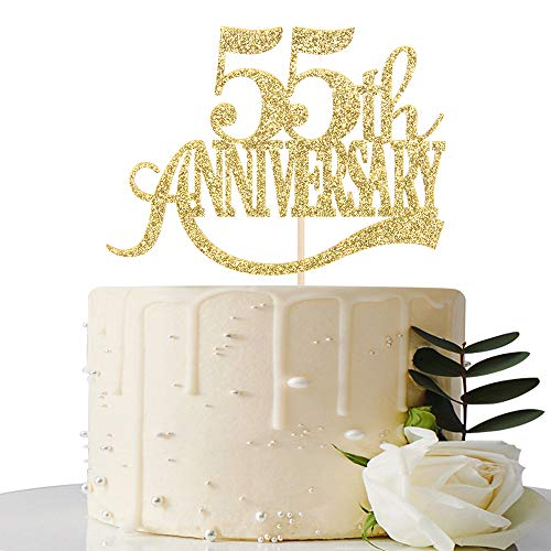 Gold Glitter 55th Anniversary Cake Topper - for 55th Wedding Anniversary / 55th Anniversary Party / 55th Birthday Party Decorations