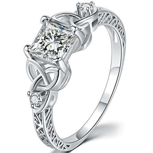Jude Jewelers Princess Cut Celtic Knot Wedding Engagement Anniversary Promise Statement Ring (Silver, 7)
