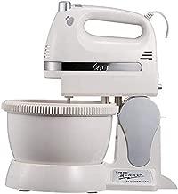 SJXmeet Electric Mixer Electric Household Electric Standing Mixer Plastic Multi-Function Barrel-Type Dough Mixer 350W High Power Eggbeater@White_31*19 * 33Cm