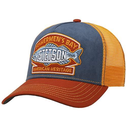 Stetson Gorra Trucker Fishermen´s Bay Hombre - Camionero de béisbol Malla Snapback, con Visera, Forro, Forro Verano/Invierno - Talla única Naranja