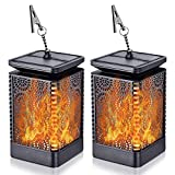 Solar Lantern Lights Dancing Flame Waterproof Outdoor Hanging Lantern Solar Powered Umbrella Led Night Lights Dusk to Dawn Auto On and Off Landscape Decor for Garden Patio Deck Yard Camping Party