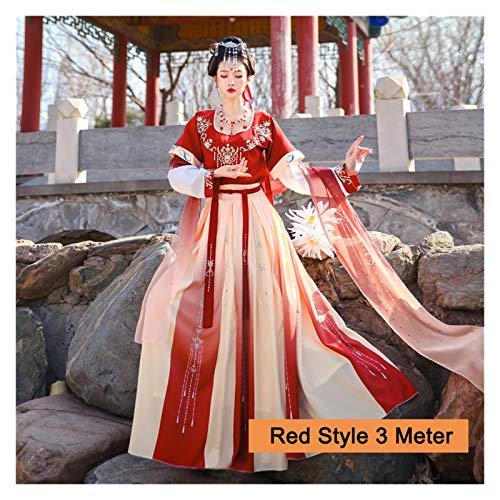 Disfraz tradicional chino Hanfu para mujer con diseño de dinastía Tang Dunhuang, vestido volador de tres piezas negro/rojo Hanfu (color: rojo 3M, tamaño: S)